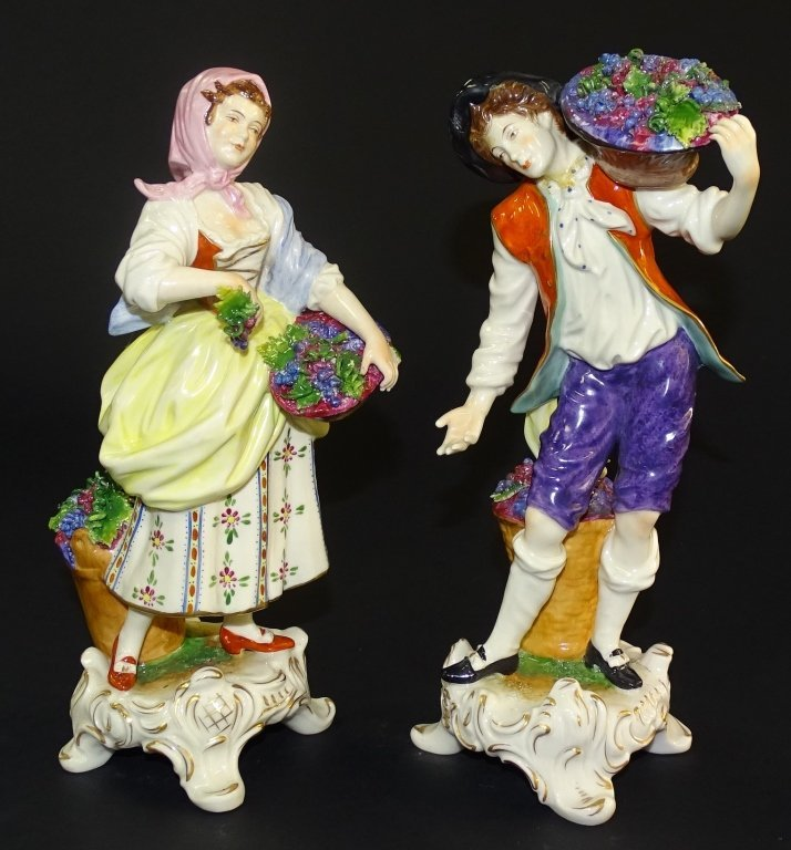PAIR OF VOLKSTEDT PORCELAIN FIGURINES MAN&WOMAN