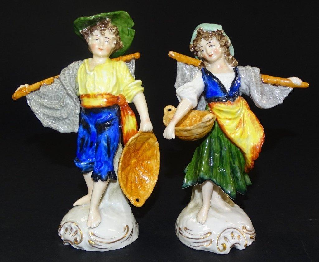 PAIR OF SITZENDORF PORCELIAN FIGURES OF BOY AND GI