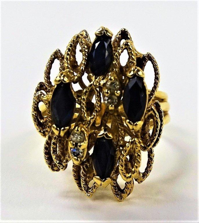 ANTIQUE LADIES 14KT YG SAPPHIRE & DIAMOND RING
