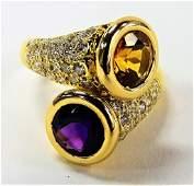 LADIES 18KT YG CITRINE AMETHYST  DIAMOND RING