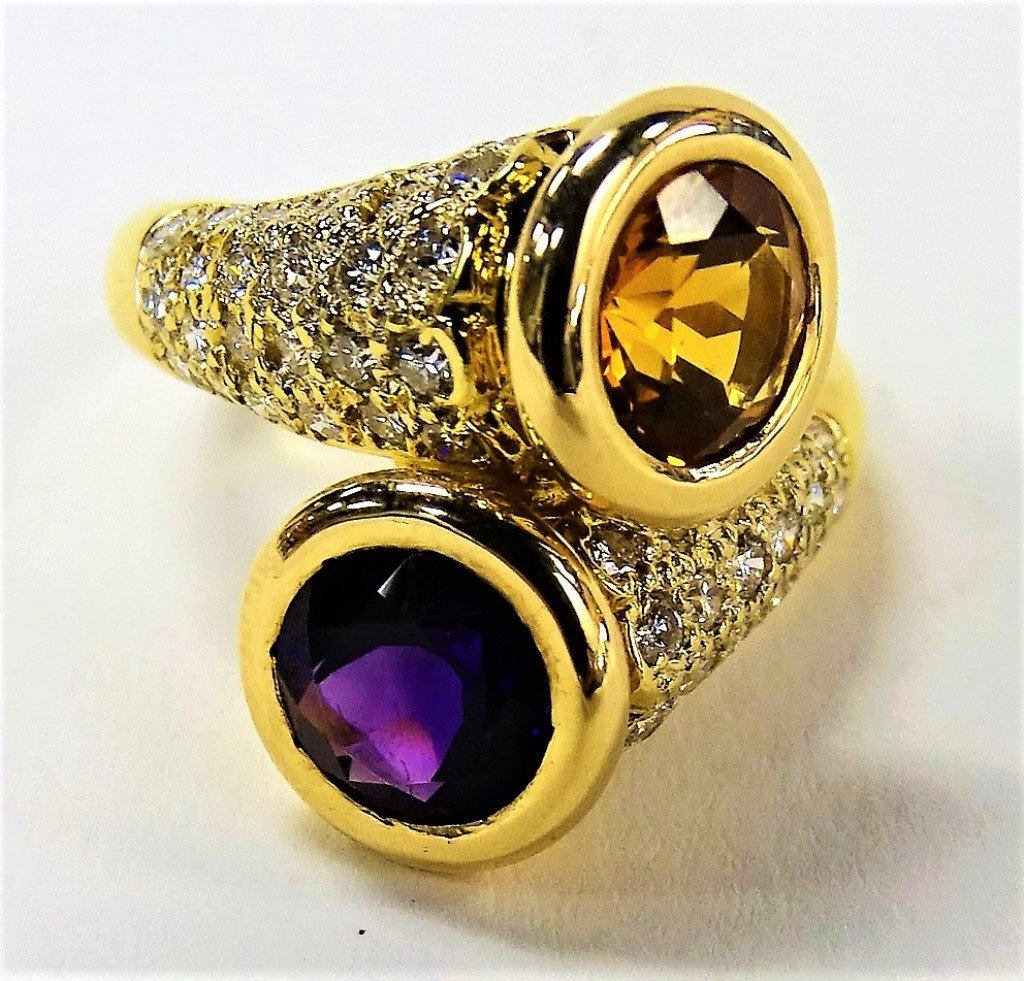 LADIES 18KT YG CITRINE, AMETHYST, & DIAMOND RING