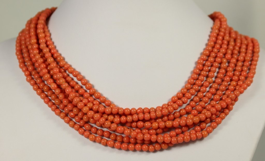 CHINESE LONG CORAL OPERA LENGTH NECKLACE