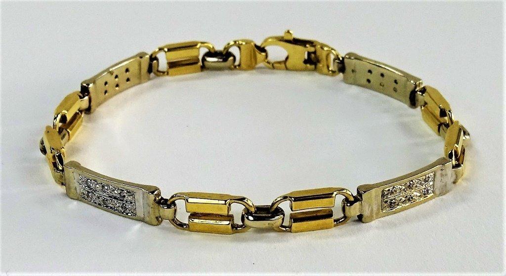 10KT TWO TONE GOLD & DIAMOND TENNIS BRACELET