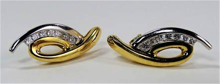 PR LADIES 14KT TWO TONE GOLD FREEFORM EARRINGS