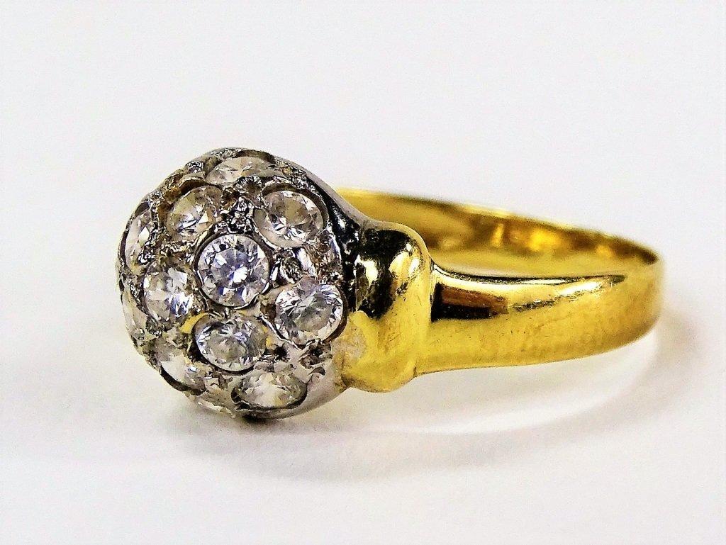 LADIES VINTAGE 14KT YG DIAMOND DOME RING