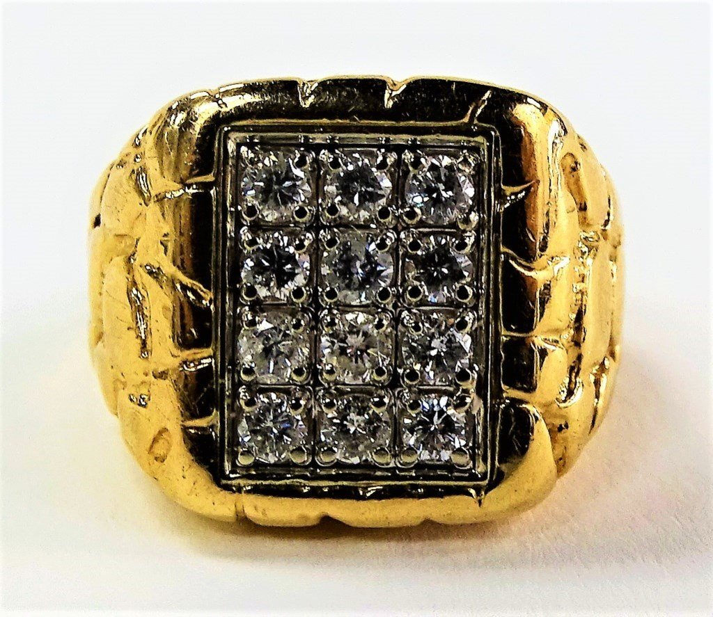 MENS 14KT YELLOW GOLD & DIAMOND NUGGET RING