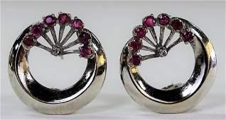 PR RETRO 14KT WG RUBY  DIAMOND EARRINGS