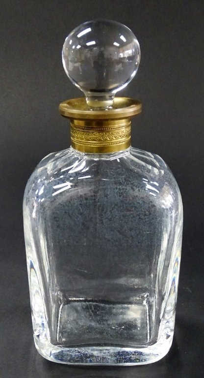 HEAVY ANTIQUE FRENCH CUT CRYSTAL & BRASS DECANTER