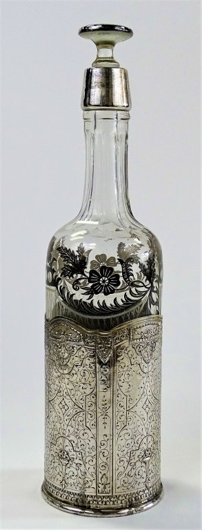 ENGLISH SILVERPLATE FRAMED DECANTER BOTTLE