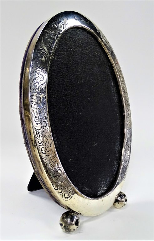 LARGE OVAL STERLING SILVER FOOTED PICTURE FRAME - 2