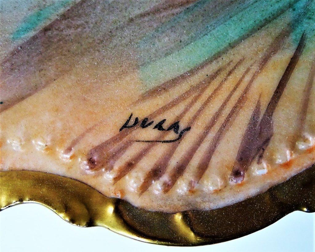 4 VINTAGE HAND PAINTED LIMOGES FISH PLATES - 2