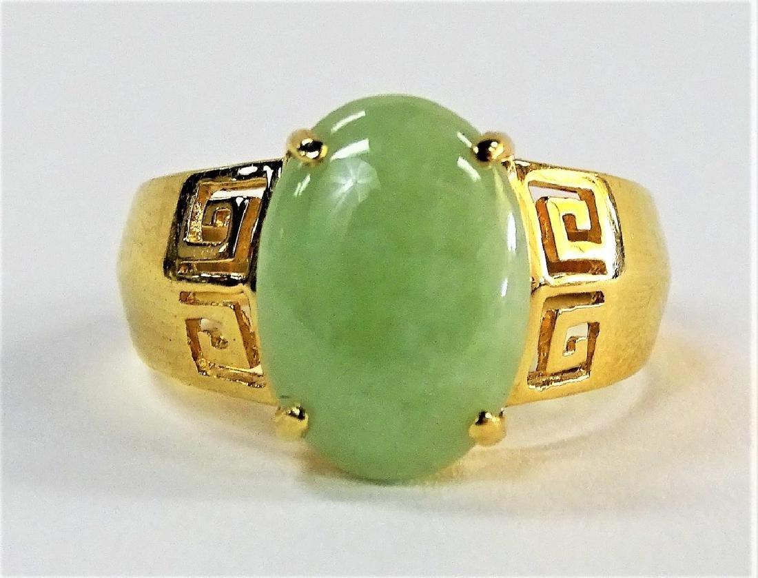UNISEX RETRO 14KT YELLOW GOLD & JADEITE RING