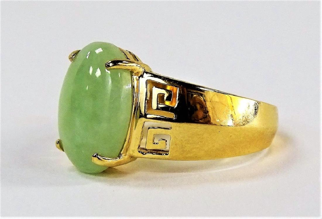 UNISEX RETRO 14KT YELLOW GOLD & JADEITE RING - 2