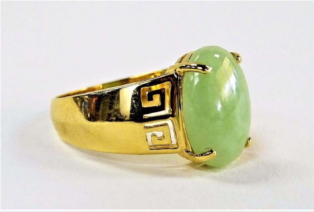 UNISEX RETRO 14KT YELLOW GOLD & JADEITE RING - 3