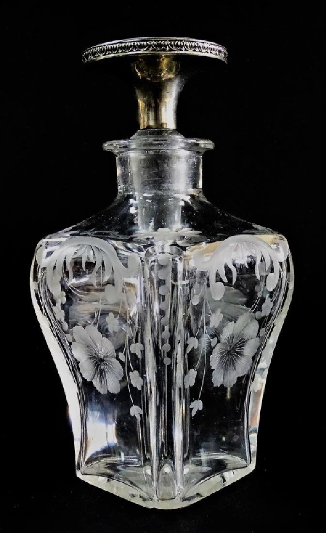 FRENCH GUILLOCHE SILVER &CRYSTAL SCENT BOTTLE - 2