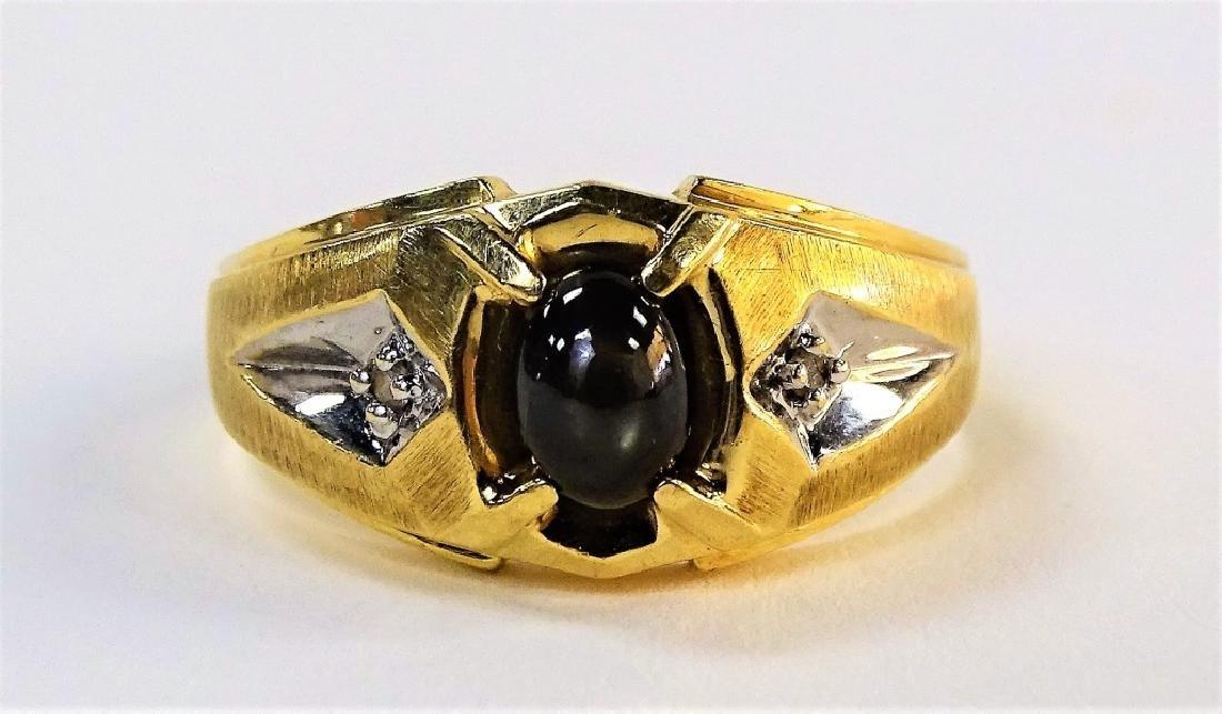MENS 10KT YG BLACK STAR SAPPHIRE & DIAMOND RING