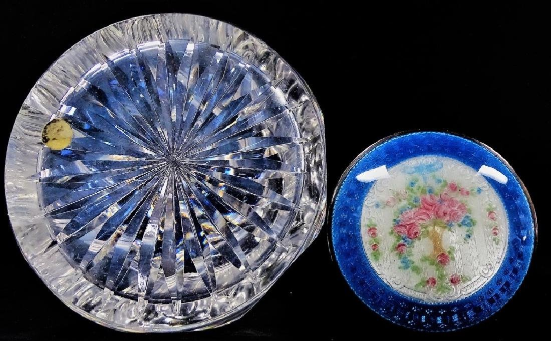 CRYSTAL PERFUME BOTTLE BLUE GUILLOCHE TOP - 3