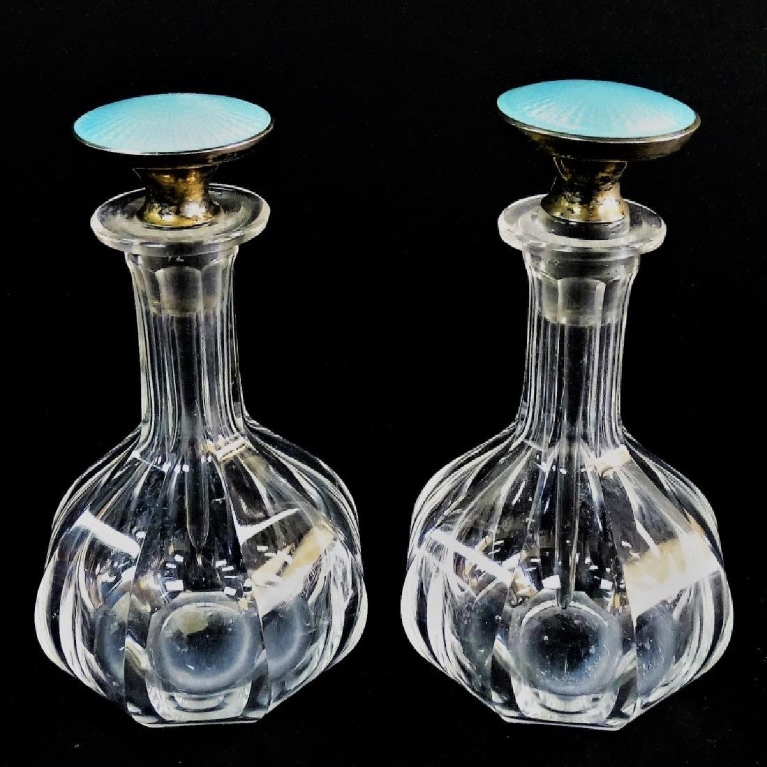 PR OF CRYSTAL PERFUME BOTTLE BLUE GUILLOCHE TOPS