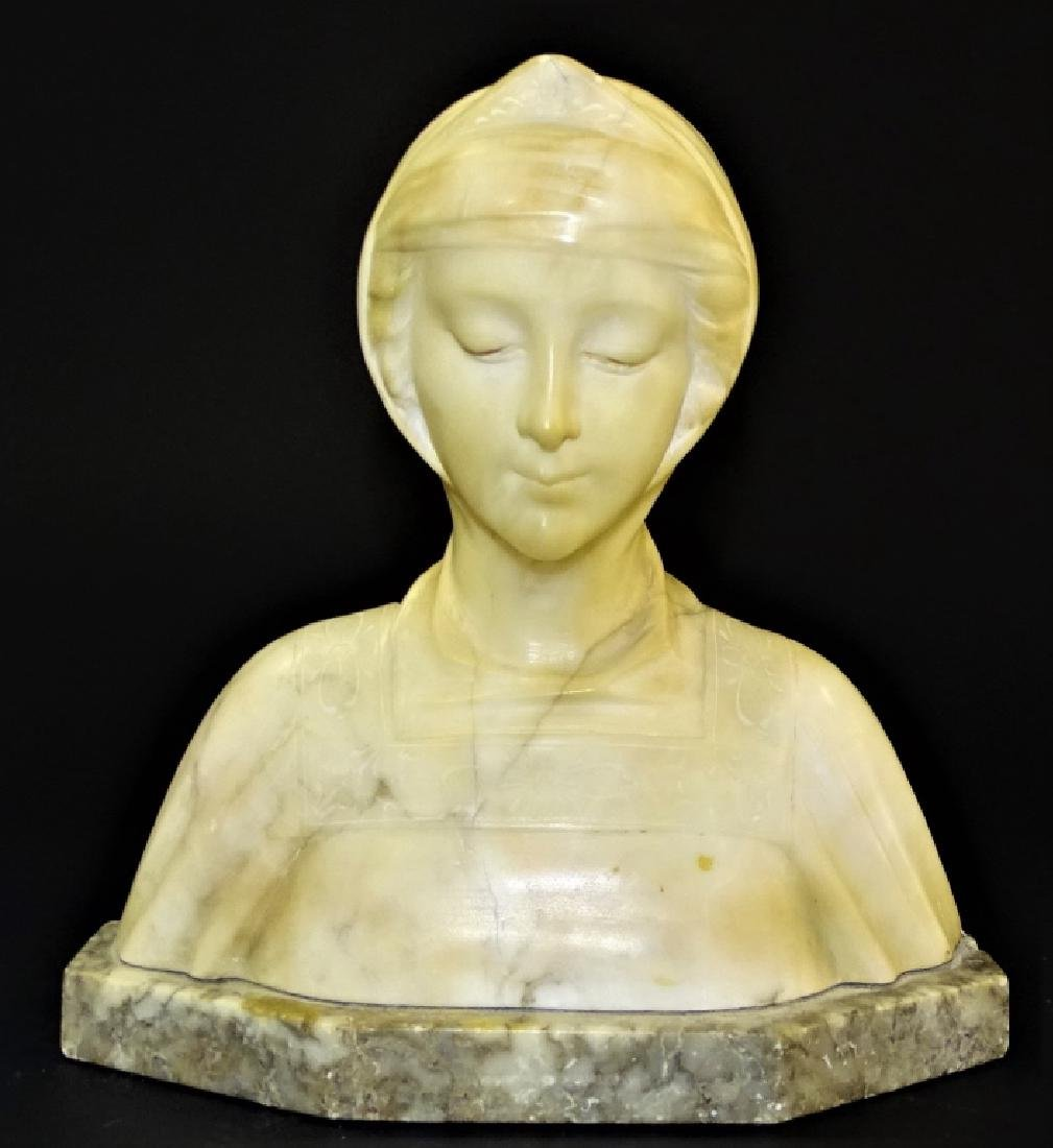 ANTIQUE HAND CARVED ALABASTER BUST OF BEATRICE