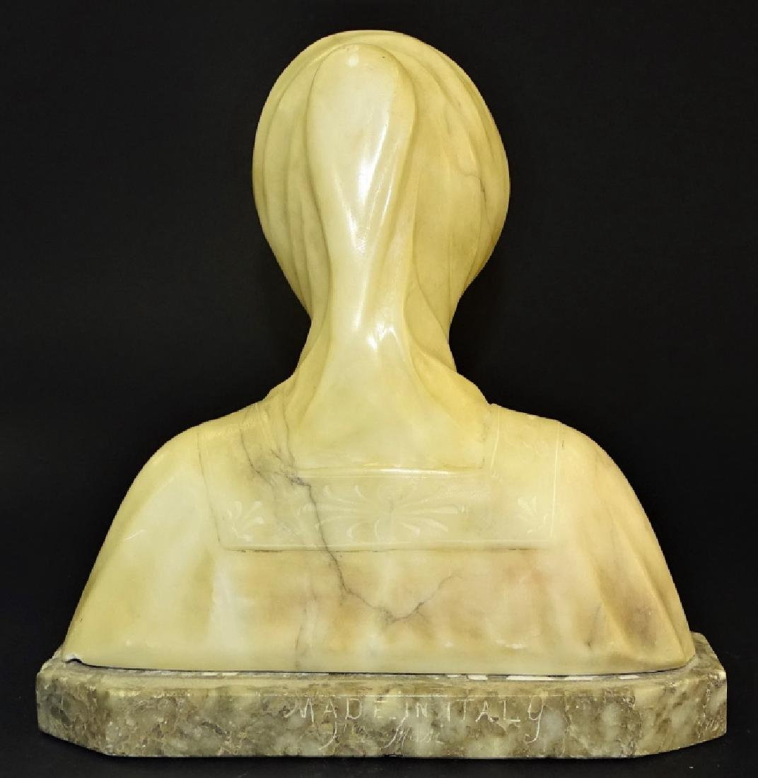 ANTIQUE HAND CARVED ALABASTER BUST OF BEATRICE - 2