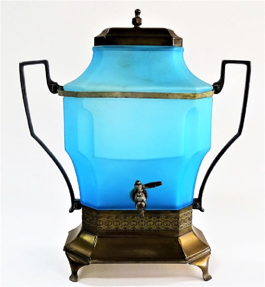 VICTORIAN BLUE SATIN GLASS WATER DISPENSER