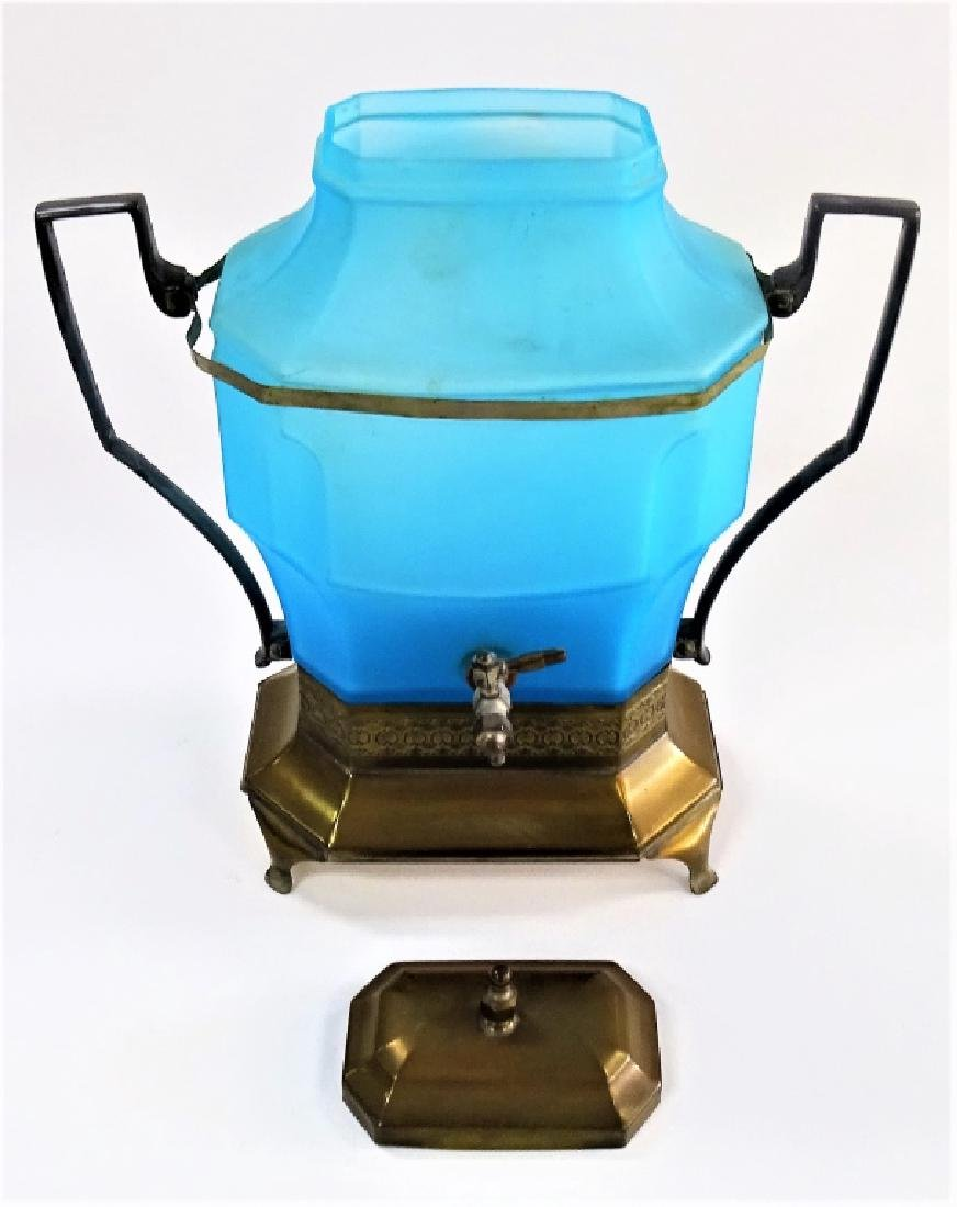 VICTORIAN BLUE SATIN GLASS WATER DISPENSER - 2