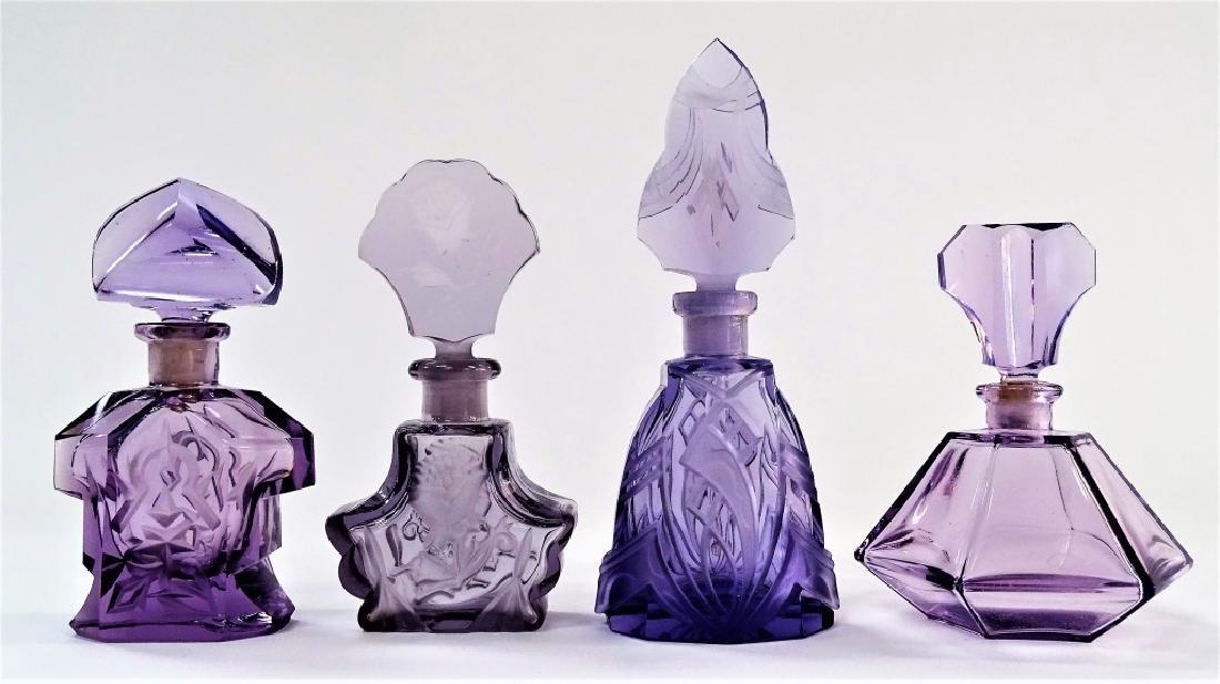 4 VINTAGE AMETHYST PERFUME BOTTLES