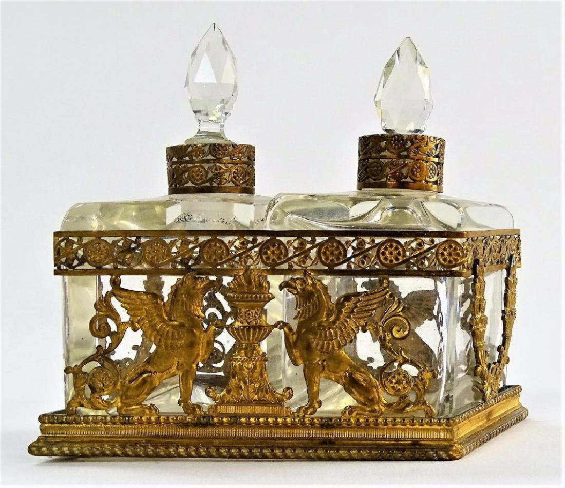ANTIQUE SCENT BOTTLE ORMOLU HOLDER - 2