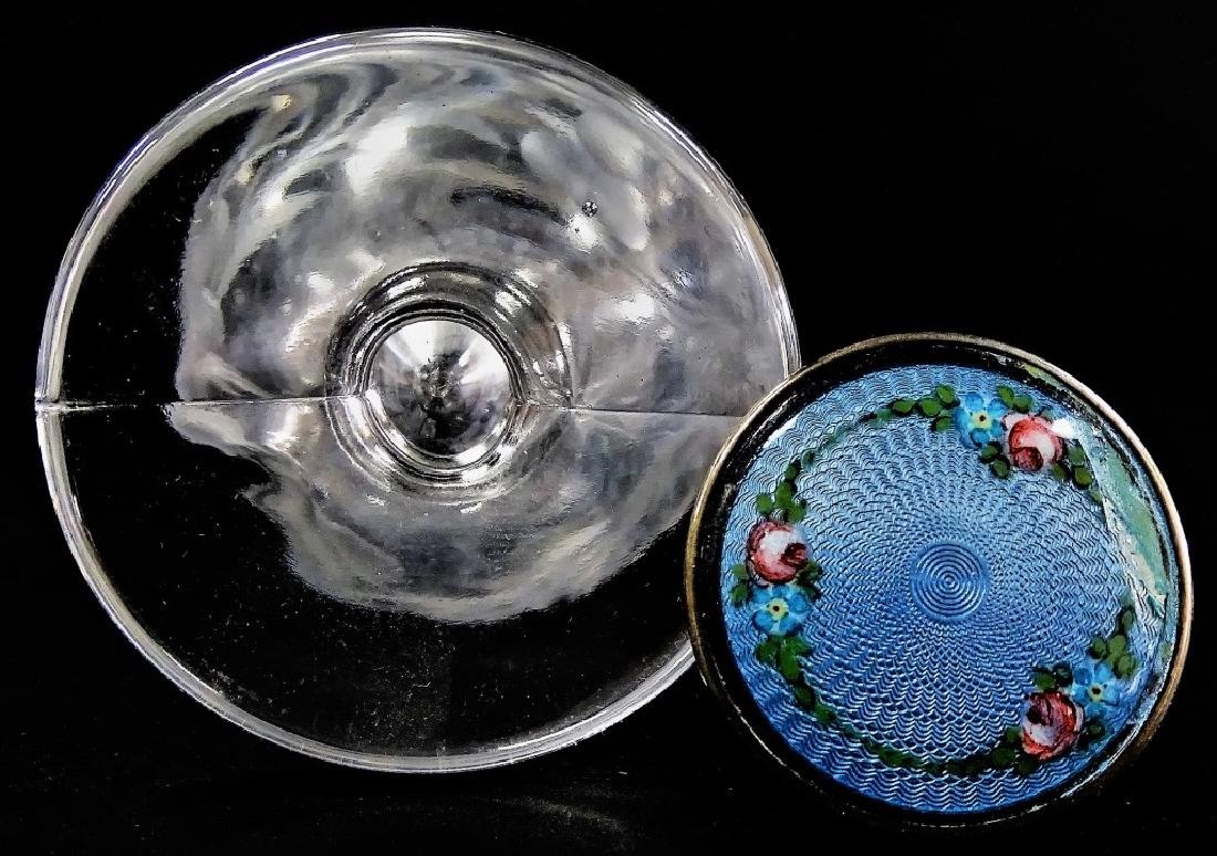 CRYSTAL PERFUME BOTTLE BLUE GUILLOCHE TOP - 2