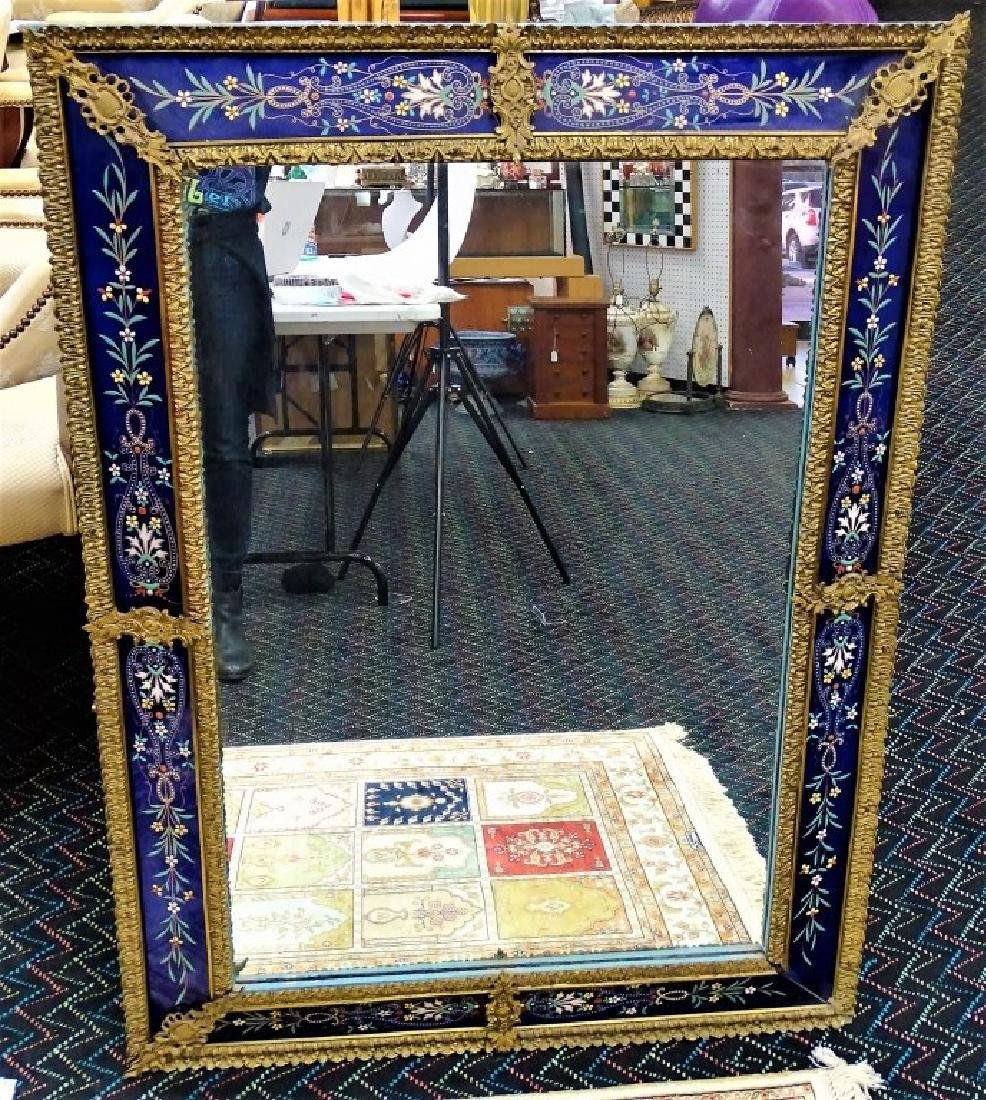 FRENCH ENAMELED GLASS & GILT BRONZE WALL MIRROR