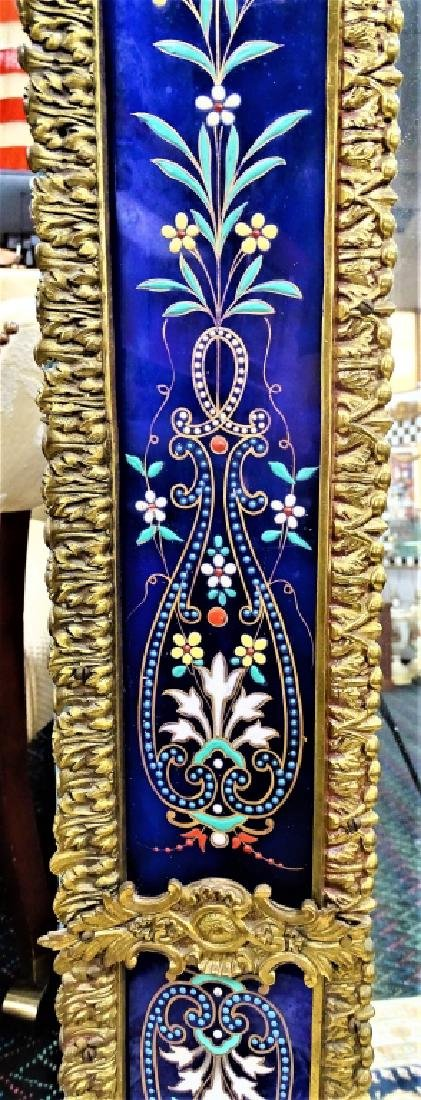 FRENCH ENAMELED GLASS & GILT BRONZE WALL MIRROR - 3