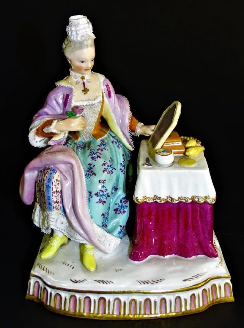MEISSEN 19TH CENTURY FIGURINE LADY AT THE DRESSER