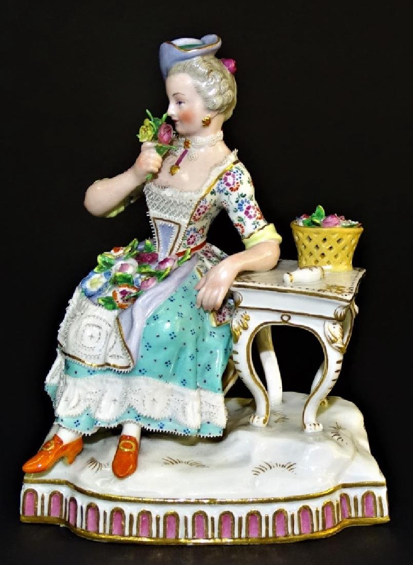 MEISSEN 19TH CENTURY FIGURINE FLOWER LADY AT TABLE