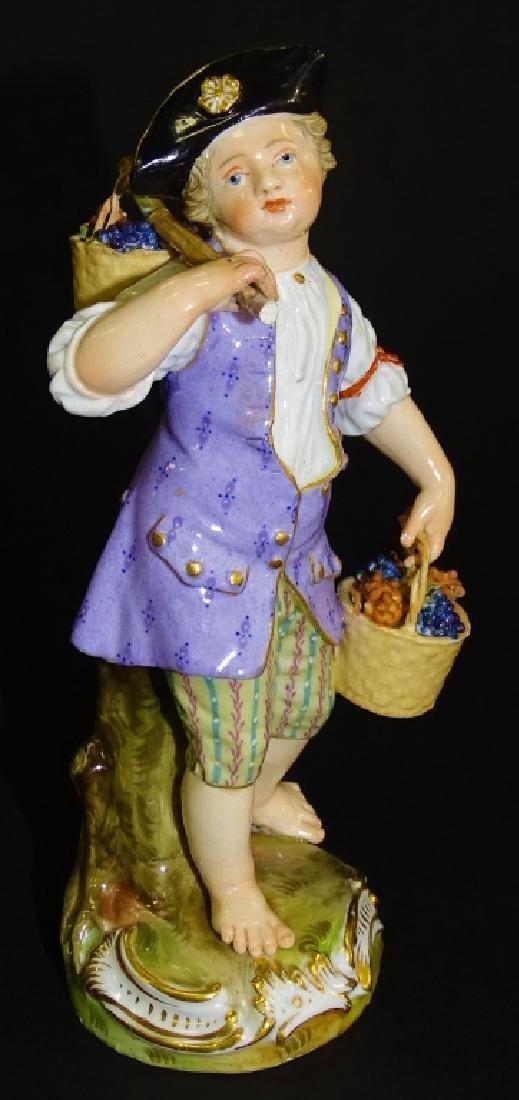 MEISSEN 19TH CENTURY FIGURINE BOY W/ FLOWER BASKET