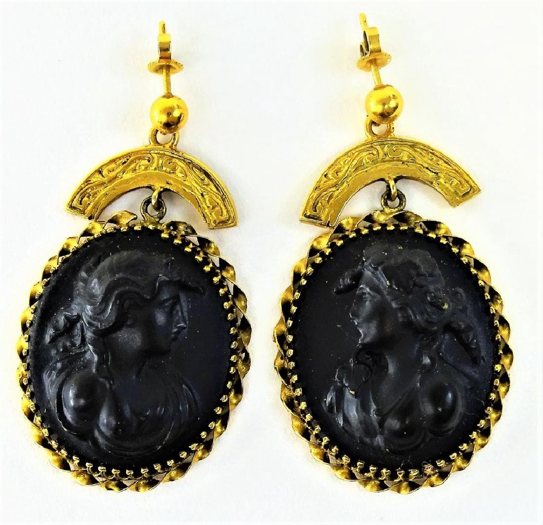14KT Y GOLD AND LAVA CARVED CAMEO OVAL EARRINGS