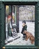 JOHN GRABACH ORIGINAL OIL/PANEL UNTITLED BOY & DOG