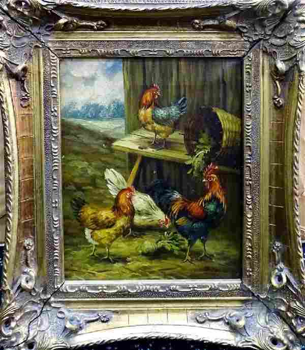 ANTIQUE OIL ON CANVAS FARM SCENE PAINTING SIGNED