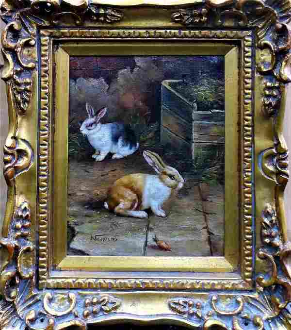 OIL ON CANVAS PAINTING OF RABBITS SIGNED NICHOLAS