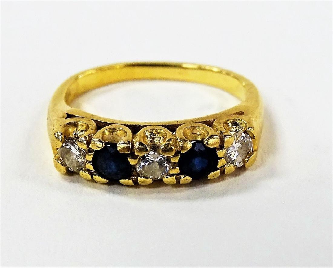LADIES 14KT YG .90CT DIAMOND & SAPPHIRE RING
