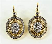 PR LADIES 14KT YELLOW GOLD DIAMOND EARRINGS