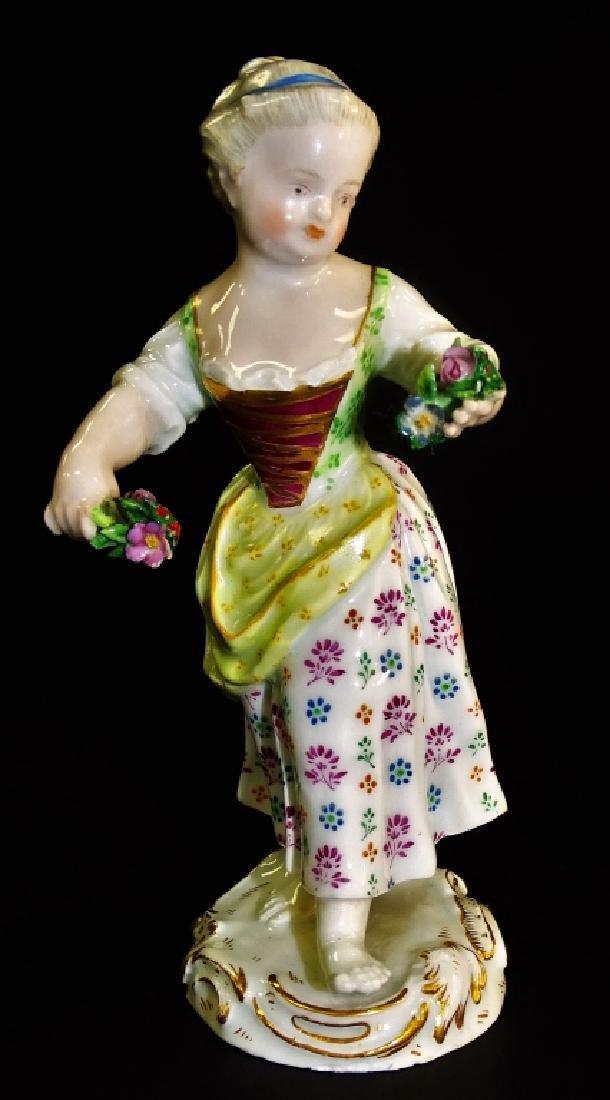 ANTIQUE MEISSEN FIGURINE GIRL HOLDING FLOWERS 1804