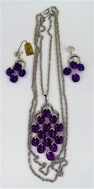 LARGE TRIFARI NECKLACE EARRING AMETHYST SUITE