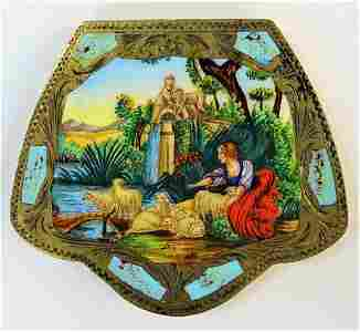 ITALIAN 800 SILVER HAND PAINTED VINTAGE COMPACT