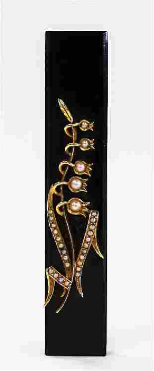 VICTORIAN 14KT YG & ONYX MOURNING PIN