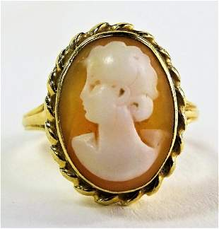LADIES VINTAGE 14KT YELLOW GOLD CAMEO RING