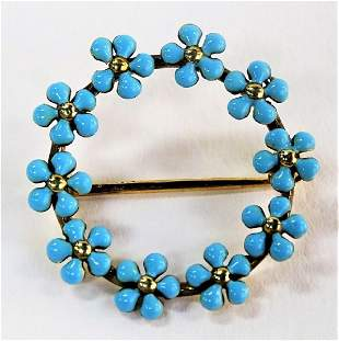 VINTAGE 14KT YELLOW GOLD ENAMELED FLORAL PIN