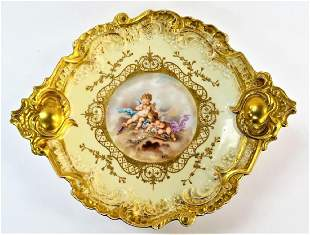 ANTIQUE SEVRES HAND PAINTED BRONZE MOUNTED TRAY