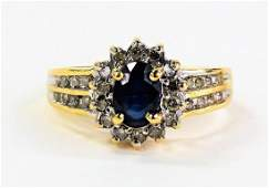 14 KT Y GOLD DIAMOND AND SAPPHIRE LADIES RING