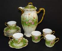 ANTIQUE LIMOGES HAND PAINTED CHOCOLATE SET