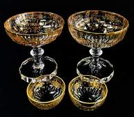 4PC COLLECTION BOHEMIAN GILT DECORATED CRYSTAL